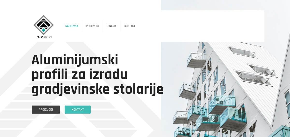 izrada sajta aluminijumski profili x lobo house